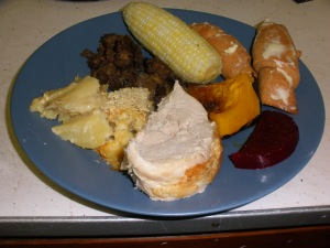 Local, homemade Thanksgiving dinner.