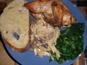Cornish Hen, spinach, pasta with morel cream sauce and Stonehouse bread.