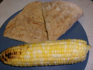 Grilled corn and flatbread