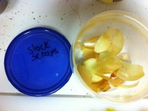 Onion scraps